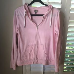 BENCH Light-Weight Pink Striped Zip-up Hoodie